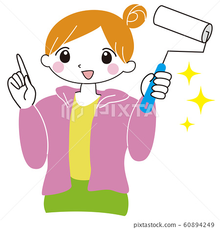 Woman pointing finger cleaning goods rolling 60894249