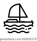 Yacht Boat Icon Vector Outline Illustration 60909374