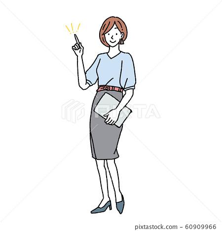 원 포인트의 행동을하는 여성 전신 일러스트 60909966
