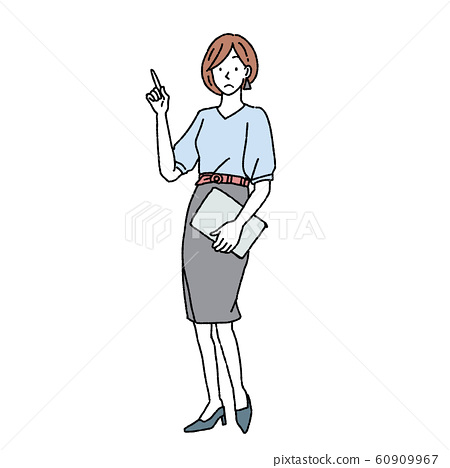 一個女人在做點手勢全身圖 60909967