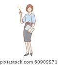 一個女人在做點手勢全身圖 60909971