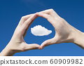 A caucasian man framing a cloud in his hands themes of point of view imagination scale 60909982