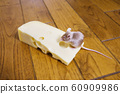 A mouse feeding on a piece of cheese 60909986