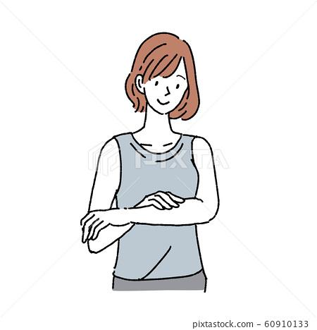 바디 케어를하는 여성 상반신 미소 60910133