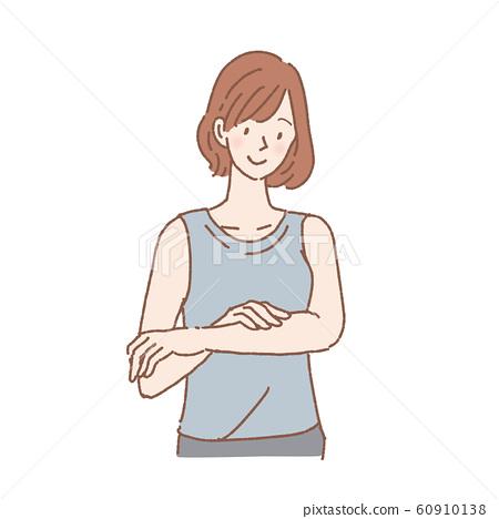 바디 케어를하는 여성 상반신 미소 60910138