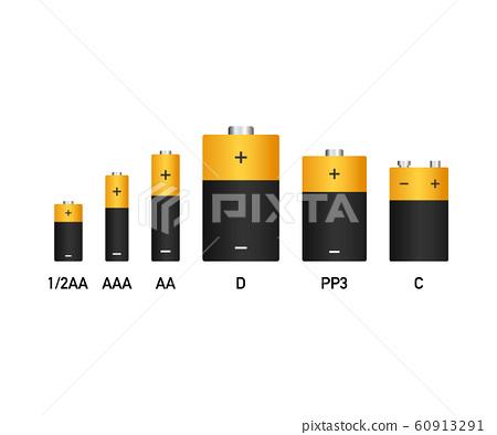 Alkaline batteries realistic style set of 60913291