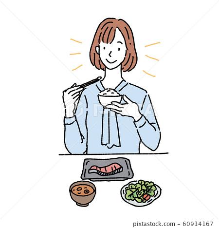 일식을 먹는 여자 아침 미소 일러스트 60914167