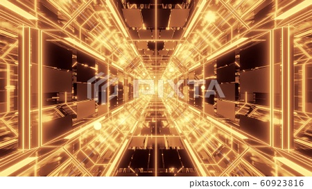 endlless science-fiction space galaxy glass tunnel corridor with flying glowing sphere particles 3d illustration wallpaper background 60923816
