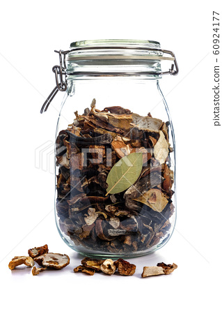 Dried mushrooms in jar 60924177