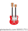 Double red electric guitar vector illustration 60931731