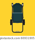 Pram child green carriage vector icon top view. 60931905