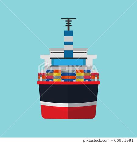 Cargo ship vector flat icon container 60931991
