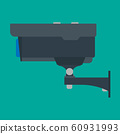 Security camera side view vector flat icon. CCTV 60931993