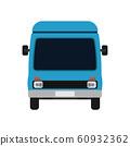 Van blue front view illustration car. Delivery 60932362