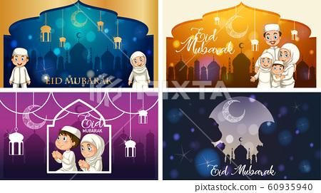 Four background designs for Muslim festival Eid 60935940