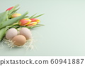 Easter background with eggs and tulips 60941887