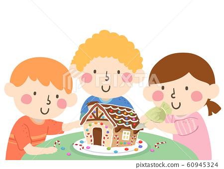 Kids Decorate Ginger Bread House Illustration 60945324
