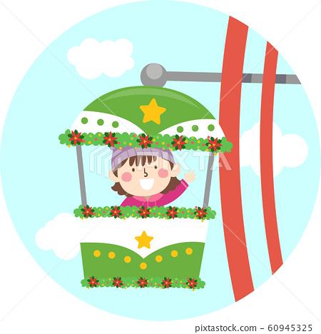 Kid Girl Ride Ferris Wheel Christmas Illustration 60945325