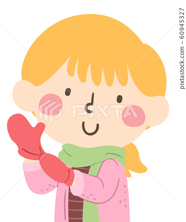 Kid Girl Wear Mittens Illustration 60945327