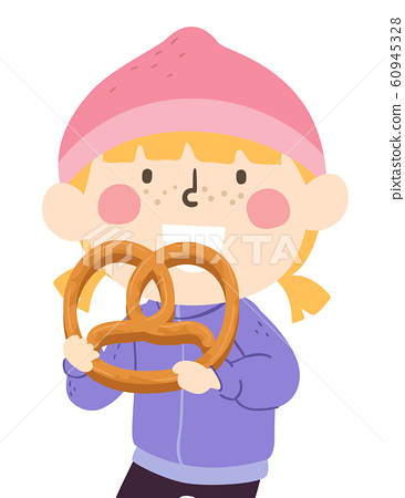 Kid Girl Big Pretzel Illustration 60945328
