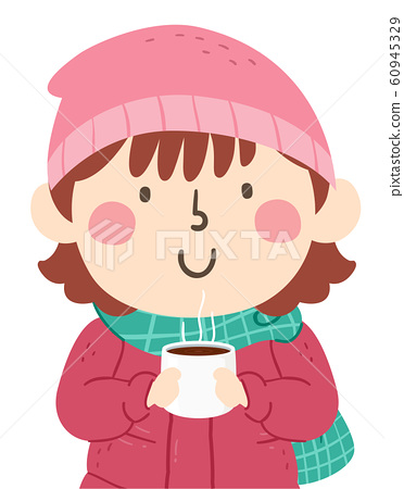 Kid Girl Hot Chocolate Illustration 60945329