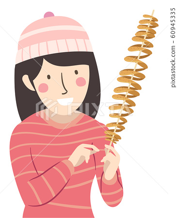 Girl Spiral Potato Snack Illustration 60945335