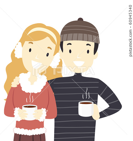 Couple Christmas Hot Choco Illustration 60945340