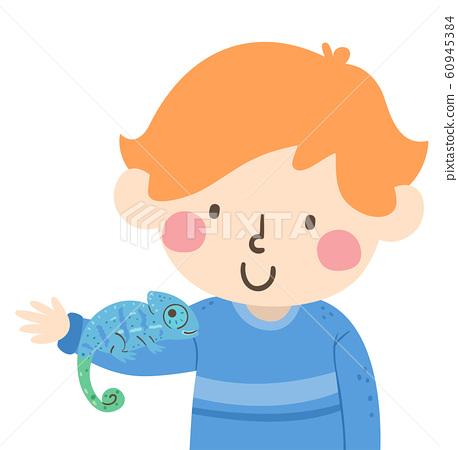 Kid Boy Chameleon Camouflage Illustration 60945384