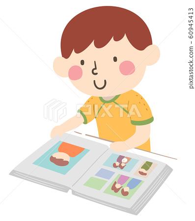 Kid Boy Look Album Illustration 60945413