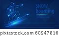 Snowboard man figure jumping sport blue neon banner 60947816