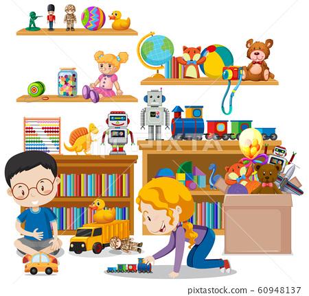 Shelf full of books and toys on white background 60948137