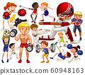People doing different types of sports on white 60948163