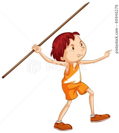 Athlete doing javelin on white background 60948276