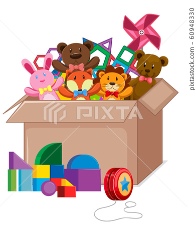 Cardboard box full of toys on white background 60948330