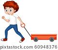Boy pulling wagon cart on white background 60948376