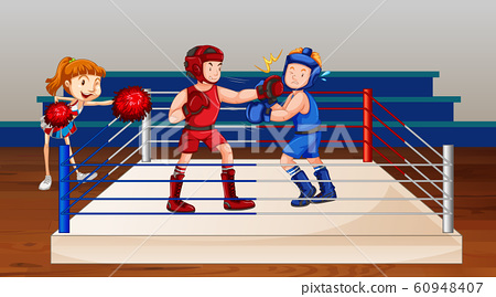 Scene with two athletes boxing on the stage 60948407