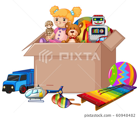 Cardboard box full of toys on white background 60948482