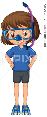 Girl with snorkel and fins on isolated background 60948505