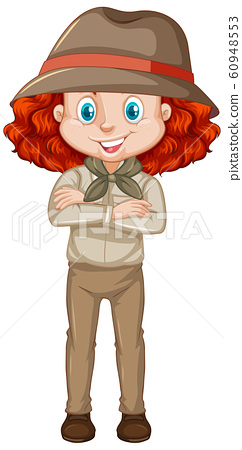 Girl in brown uniform on white background 60948553