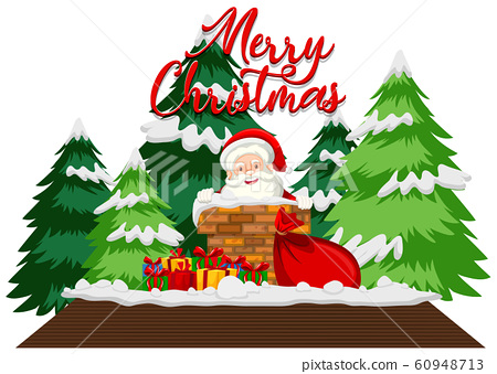 Christmas theme with Santa on the roof 60948713