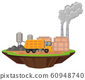 Scene with factory buildings and dump truck on the 60948740