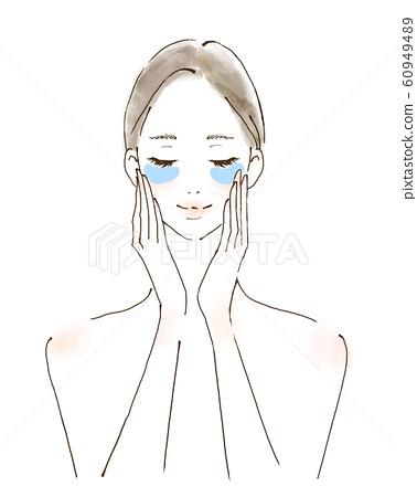 關心眼睛的女人預防皺紋的人插圖手繪 60949489