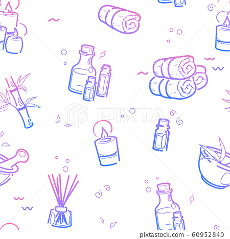 Spa Therapy Seamless Pattern In Line Style Stock Illustration 60952840 Pixta