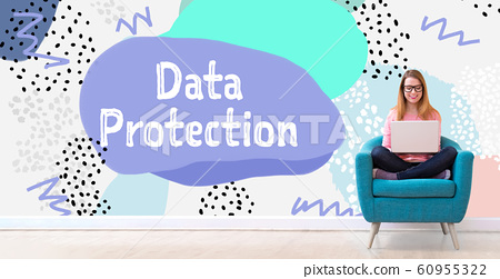 Data protection with woman using a laptop 60955322
