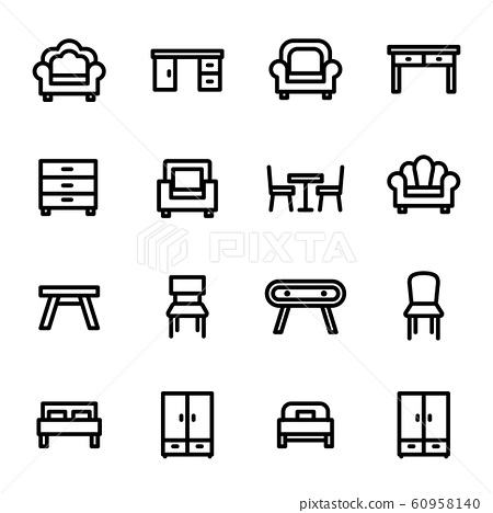 Furniture Icon Set 16 - Editable stroke. 48x48 Pixel Perfect. 60958140
