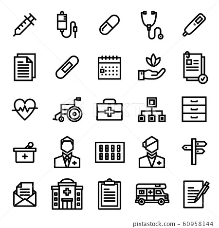 Hospital Icon Set. Editable stroke. 48×48 Pixel Perfect. 60958144