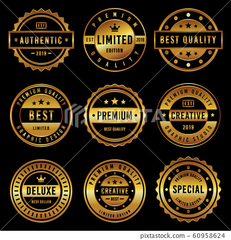 Premium Vintage Badge & Label Set 60958624