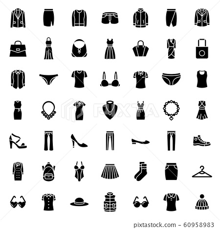 woman & lady fashion icon set. 48 x 48 pixels complete.	 60958983