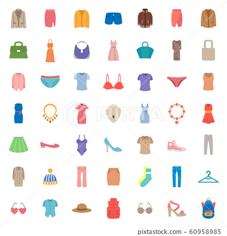 woman & lady fashion icon set. 48 x 48 pixels complete.	 60958985