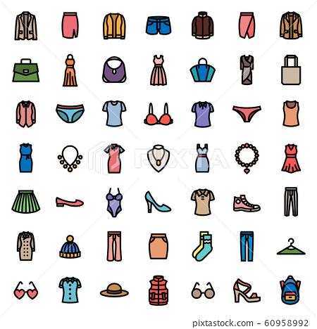 woman & lady fashion icon set . 48 x 48 pixels perfect. 60958992